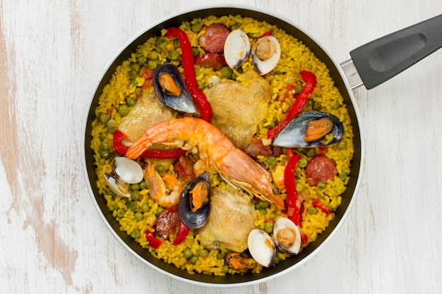 Rice with chicken and seafood