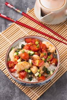 Rice with chicken tomato sauce chinese food