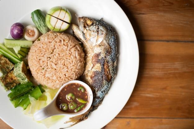 Rice with chili paste , thai food