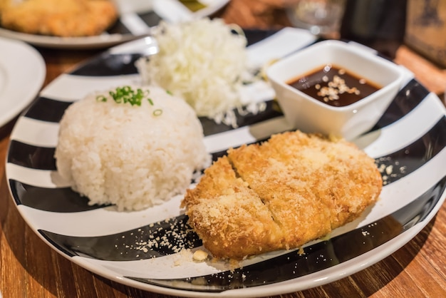 Rice with pork cutlet tonkatsu