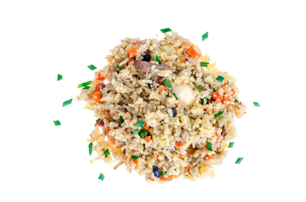 Rice with vegetables, meat on white.
