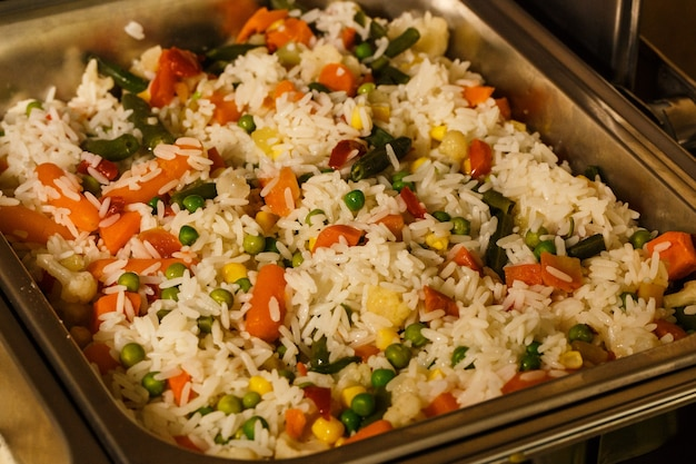 Rice with vegetables steam room at the hotel for catering, seminar, coffee break, breakfast, lunch, dinner, buffet .healthy and tasty food