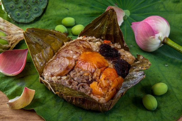 Rice wrapped in lotus leaf, thai food.
