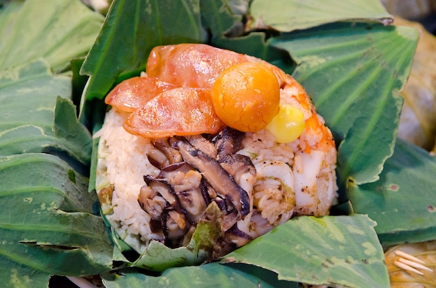 Rice wrapped in lotus leaves