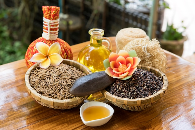 Riceberry rice,rice bran ,paddy and soap on nature background.