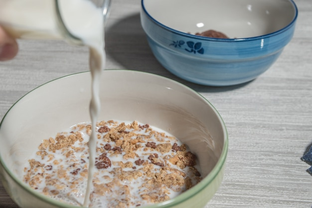 Rich breakfast bowl with cereals, chocolate and milk