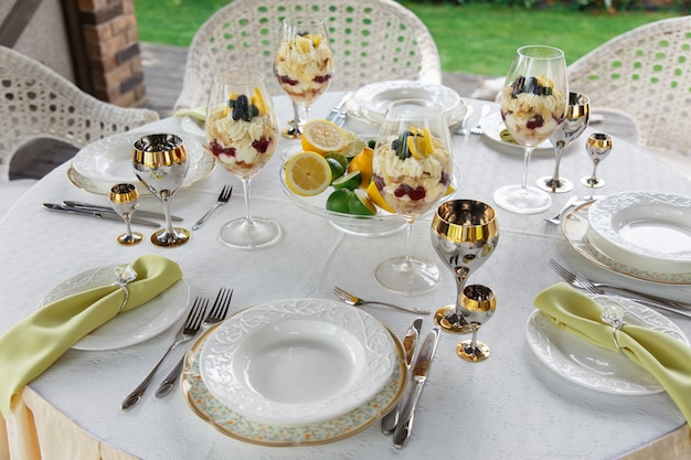 Richly decorated banquet table
