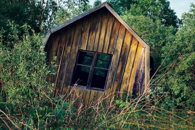 ロシアの田舎で木々が生い茂った壊れそうな崩れかけた廃屋