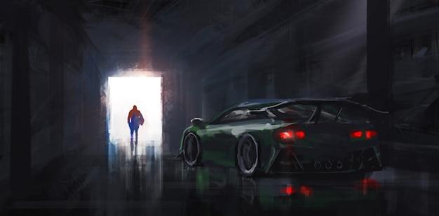 Всадник выходит из гаража.