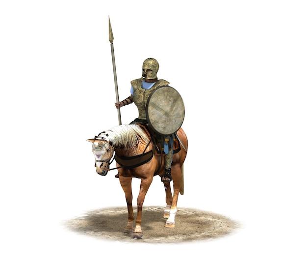 Всадник воин на коне 3d-рендеринга