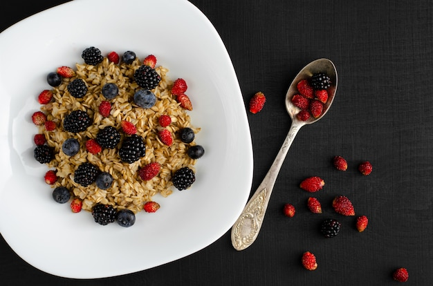 暗い背景に野生の果実のミックスで健康的なオートミールのおridge