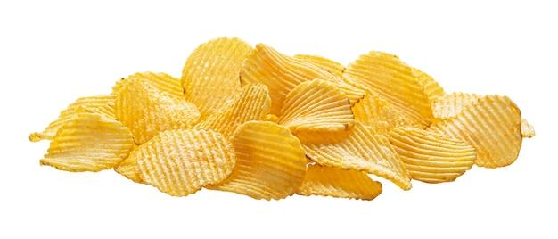 흰색 배경에 고립 된 ridged 감자 칩