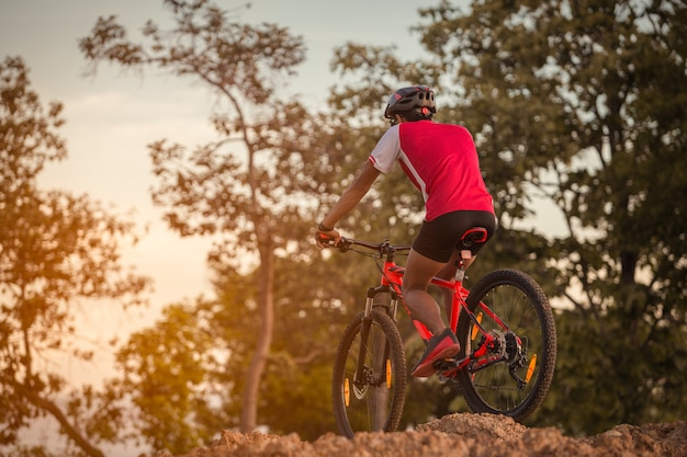 Riding a bicycle down a dirt trail with big rocks