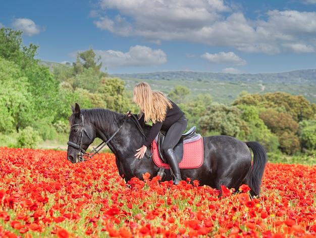 Девушка на лошади тренирует своего черного коня