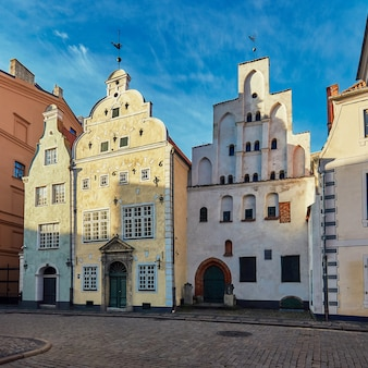 Riga, latvia. famous medieval buildings in old riga city againist blue sky