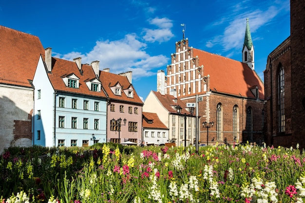 Riga, latvia - july, 2017: traditional architecture of old town riga in latvia
