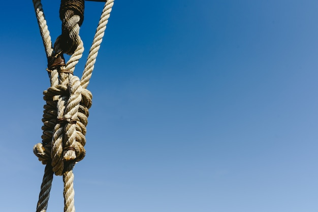 Rigging and ropes on an old sailing ship to sail in summer.