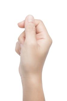 Правая рука держит карту, изолированную на белом