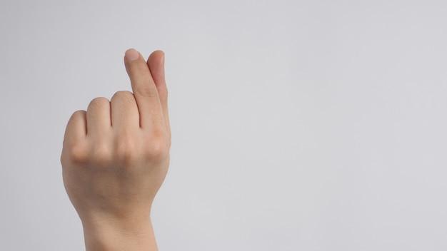 Правая рука делает знак руки мини сердце на белом фоне.
