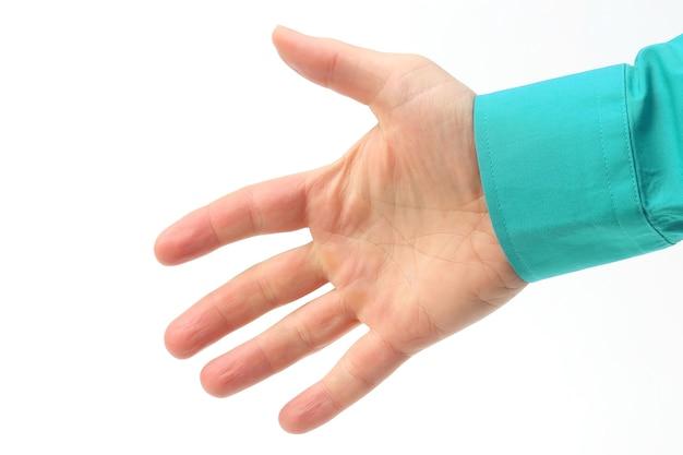 흰색 바탕에 남자의 오른손