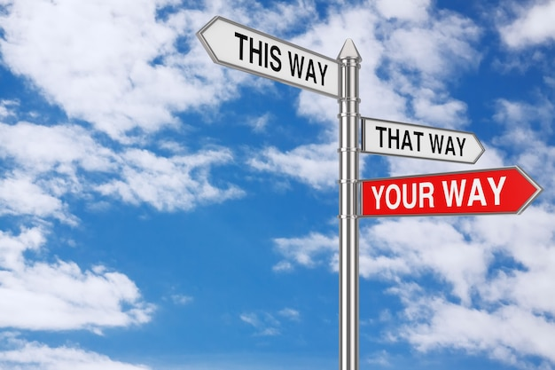 Right your way choice in business and life signpost on a cloud sky background. 3d rendering
