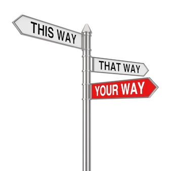 Right your way choice in business and life signpost on a white background. 3d rendering