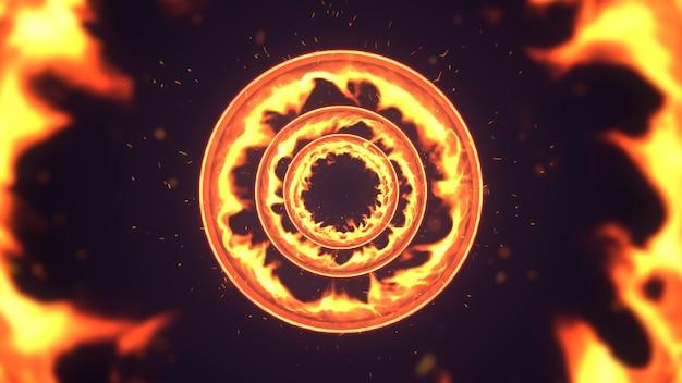 Кольцо горящего фона огня.