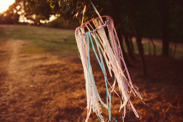 Ring with ribbons hangs on the wind