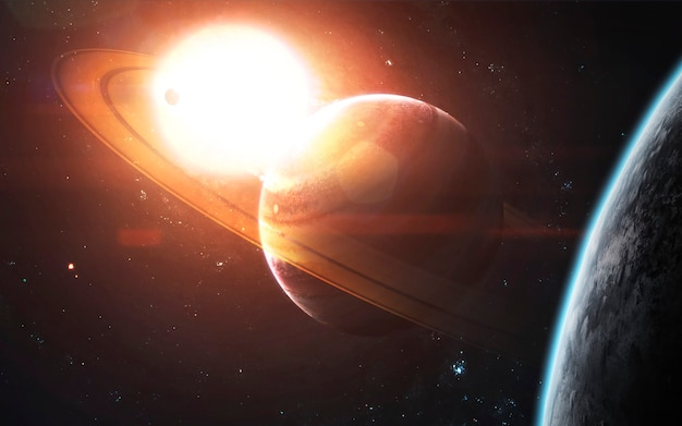Кольцевидный газовый гигант на фоне светящегося солнца. визуализация космической научной фантастики. элементы этого изображения, предоставленные наса