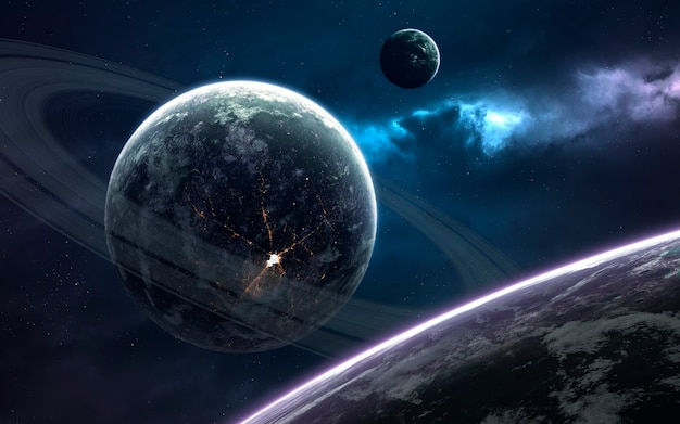 Ringed planet. deep space image, science fiction fantasy in high resolution ideal for wallpaper and print. elements of this image furnished by nasa