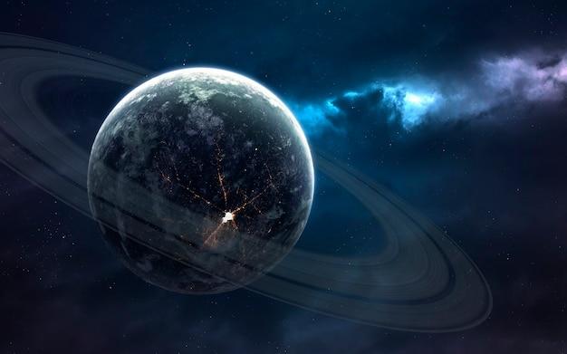 Кольчатая планета. изображение глубокого космоса, фантастическая фантастика в высоком разрешении идеально подходит для обоев и печати. элементы этого изображения, предоставленные наса