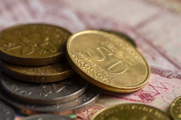Ringgit malaysia, singapore dollar and saudi arabia riyals coins, selected focus on the word fifty halalas. business, finance, economy and investment concept.