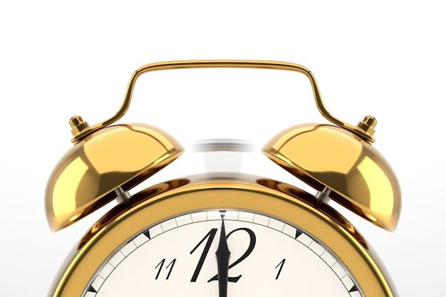 目覚まし時計が鳴っています。白い背景の上の黄金のテーブル棚ヴィンテージ時計。 3dイラスト