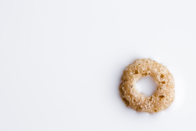 Rings cereal with milk.  close-up of cereal floating in milk. copy space.