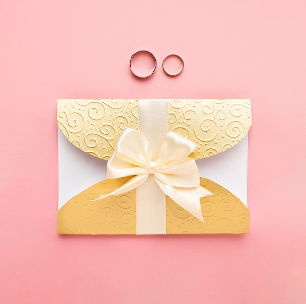 Rings and luxury wedding stationery