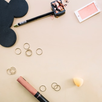 Rings and makeup supplies