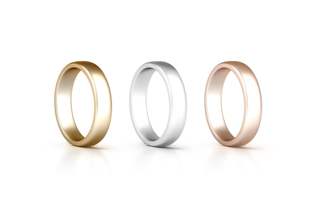 Rings set stand isolated, golden, silver, pink gold jewelry