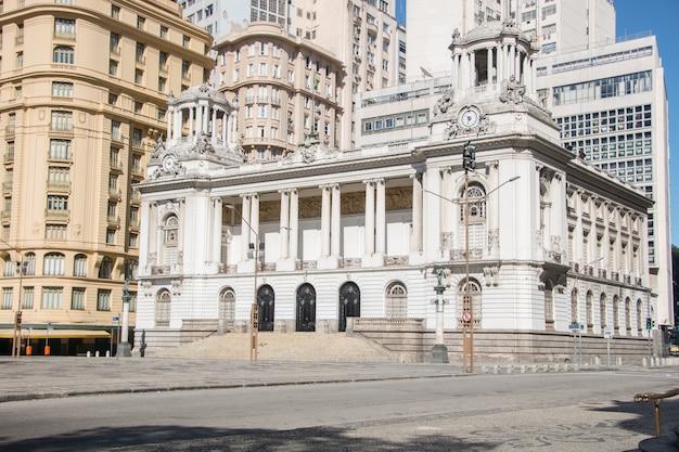 Rio de janeiro city council building, brazil - july 25, 2021: city council building located in the city center of rio de janeiro.