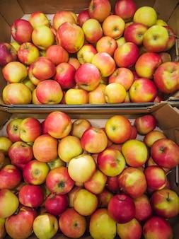 Ripe apples in the market.