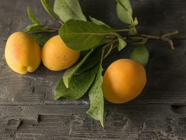 Спелые абрикосы и веточка с листьями на деревянном столе. урожай свежих фруктов.