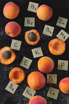 Ripe apricots and the names of the vitamins and microelements contained in them.