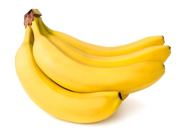 白で隔離される熟したバナナ。閉じる。