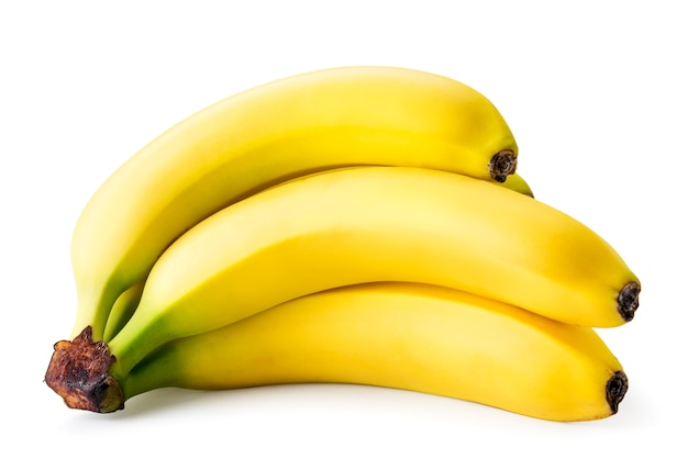 Ripe bananas lie on a white background. isolated