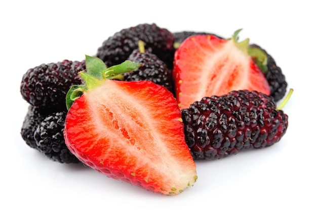 Ripe berry isolated. strawberries and mulberry close up.