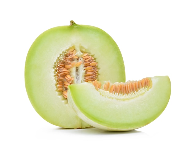 Ripe cantaloupe melon on white