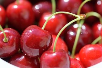 Ripe cherries on bowl