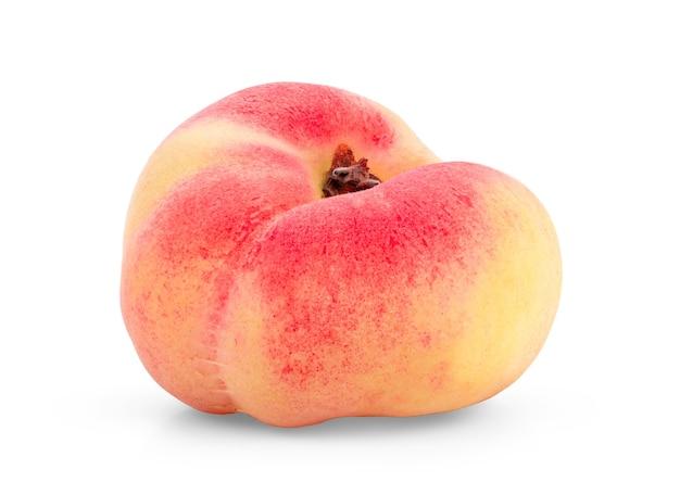 잘 익은 중국 플랫 복숭아 과일 흰색 배경에 고립