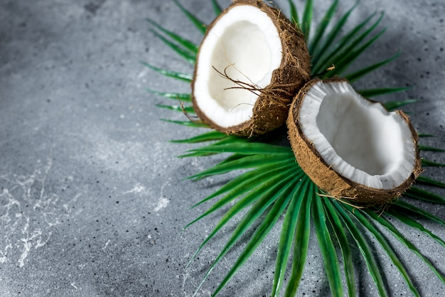 Ripe chopped coconut with leaves