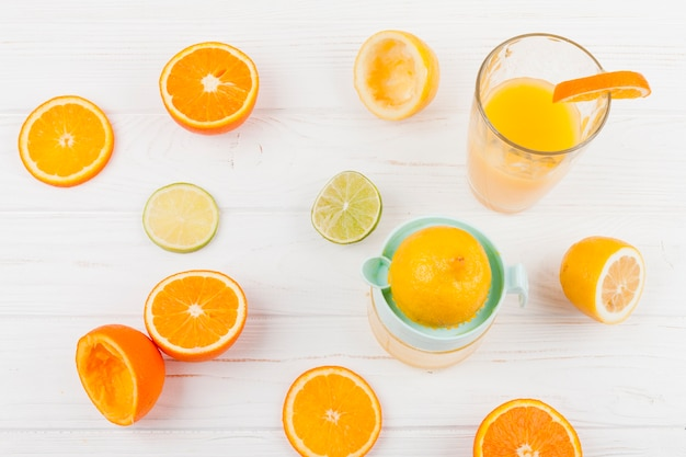 Ripe citrus halves on light surface