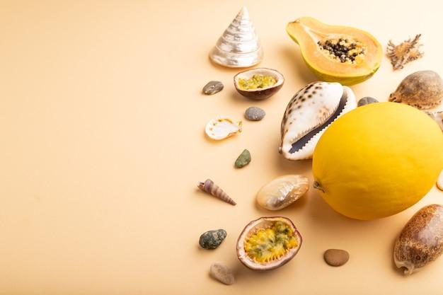 잘 익은 파파야, 열정 과일, 멜론, 조개, 오렌지 파스텔 배경의 자갈. 측면보기,